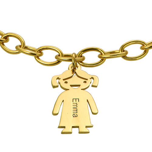 Bracelet personnalisé avec Pendentif Enfants en Plaqué Or - 1