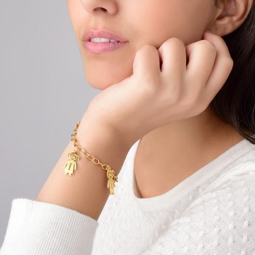 Bracelet personnalisé avec Pendentif Enfants en Plaqué Or - 3