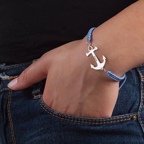 Bracelet Ancre Gravée Cordon - 2