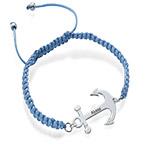 Bracelet Ancre Gravée Cordon