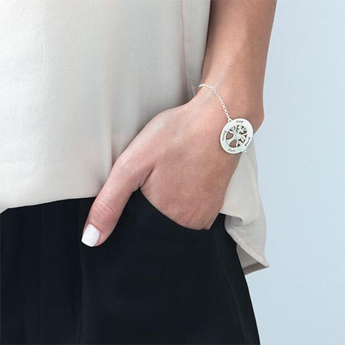 Bracelet Arbre Généalogique Gravé en Argent - 2