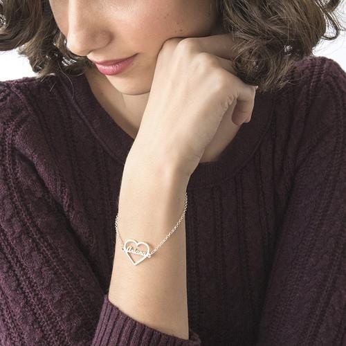 Bracelet Cœur gravé en argent - 2