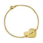 Bracelet Coeur Gravé Couples en Plaqué Or 18ct