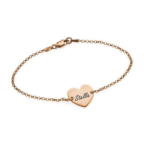 Bracelet Coeur Gravé Couples en Plaqué Or Rose 18ct