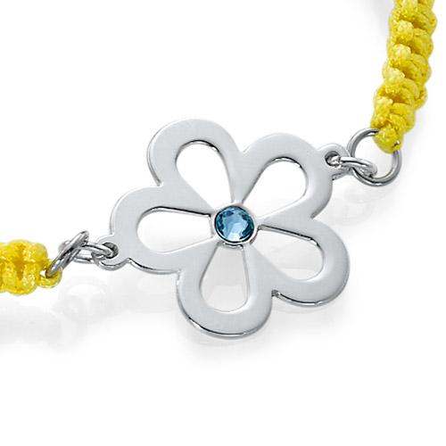 Bracelet Cordon Fleur avec Pierre de Naissance - 1