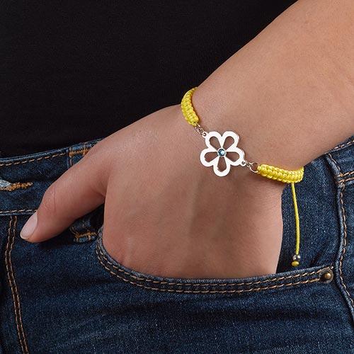 Bracelet Cordon Fleur avec Pierre de Naissance - 2