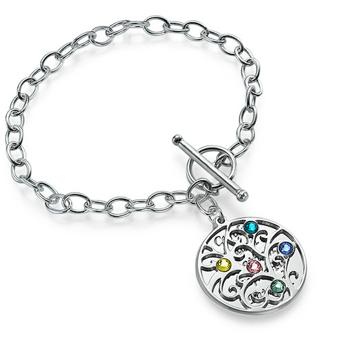 Bracelet Filigrane Arbre de Vie Et Pierres de Naissance - 1