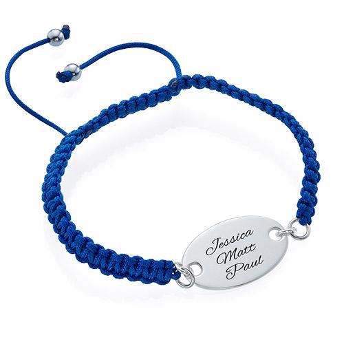 Bracelet Gravé Ovale Cordon