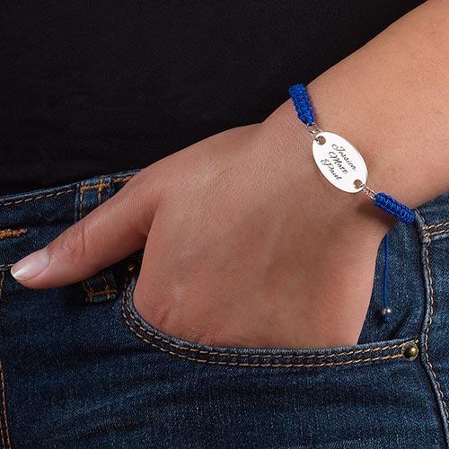 Bracelet Gravé Ovale Cordon - 2