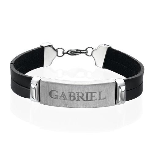 Bracelet Homme cuir personnalisé prénom - 1