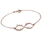Bracelet Infini 4 prénoms en plaqué or rose