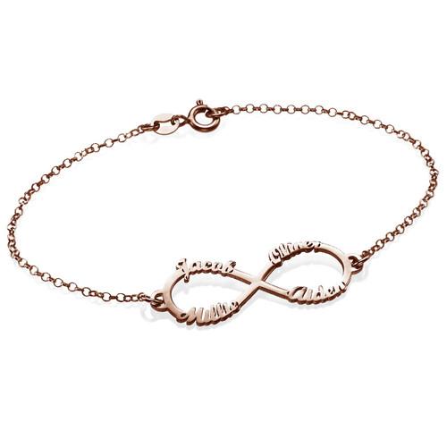 bracelet infini 4 pr noms en plaqu or rose moncollierprenom. Black Bedroom Furniture Sets. Home Design Ideas
