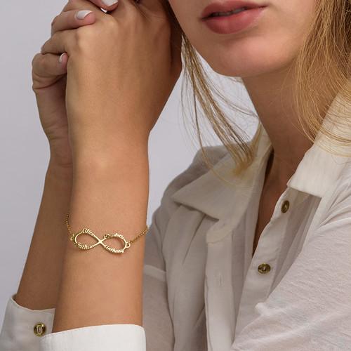 Bracelet Infini 4 prénoms en plaqué or - 3