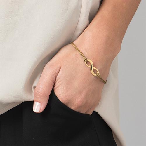 Bracelet Infini Gravé Plaqué Or avec Cordon Imitation Cuir - 1
