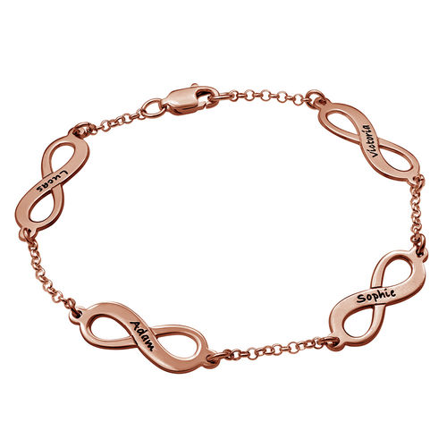 Bracelet Infini Multiple charms en Plaqué or Rose 18cts - 2