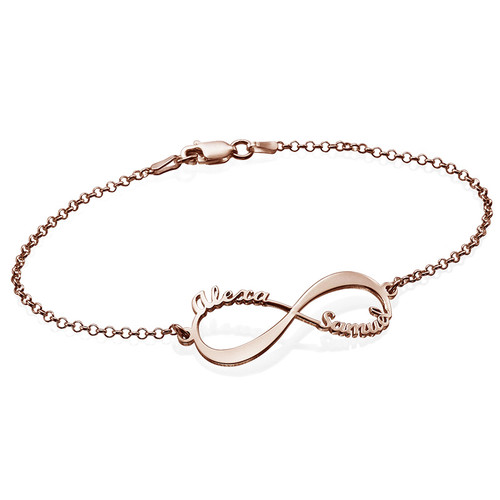 Bracelet Infini avec noms - Plaqué or rose 18cts