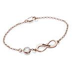 Bracelet Infini pierre de naissance en plaqué or rose