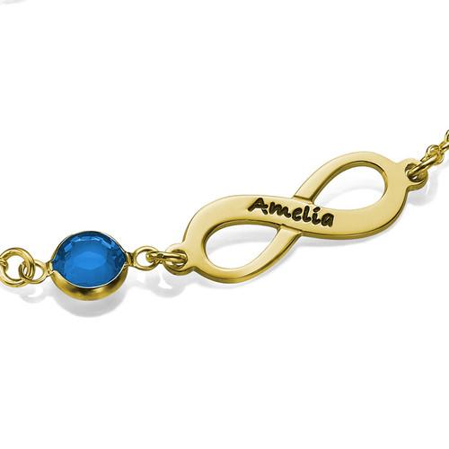Bracelet Infini pierre de naissance en plaqué or - 1
