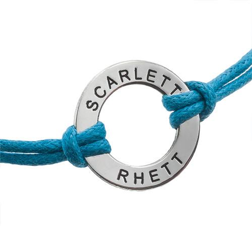 Bracelet Jeton en Argent avec Cordon Imitation Cuir