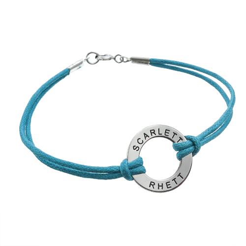 Bracelet Jeton en Argent avec Cordon Imitation Cuir - 1