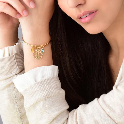 Bracelet Jonc Monorgramme et charms en plaqué or - 2