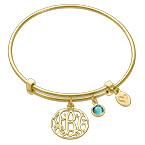 Bracelet Jonc Monorgramme et charms en plaqué or