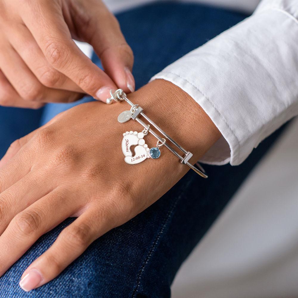 Bracelet Jonc avec Pieds de bébé - 3