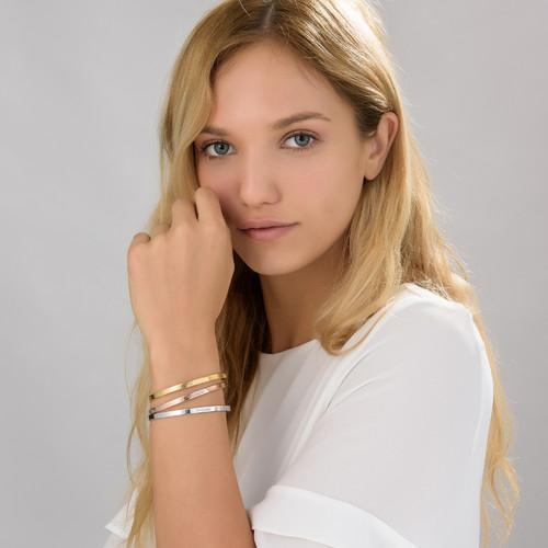 Bracelet Jonc gravé en plaqué or 18 carats - 2