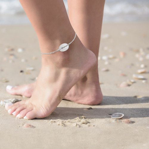 Bracelet / Chaine de cheville Personnalisé avec Disque Gravé - 3