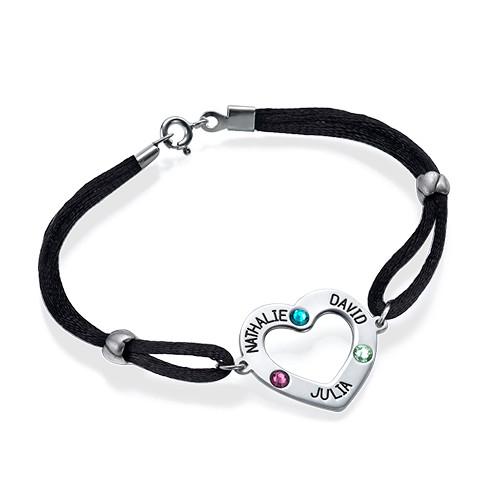 Bracelet cœur avec pierres de naissance