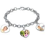 Bracelet charme avec photo en cœur