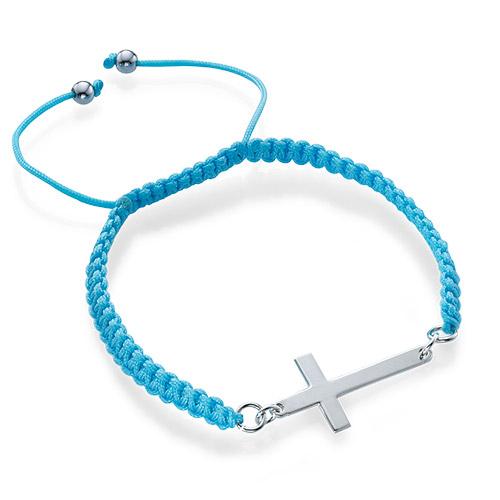 Bracelet Cordon Croix Argent