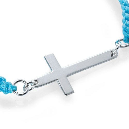 Bracelet Cordon Croix Argent - 1