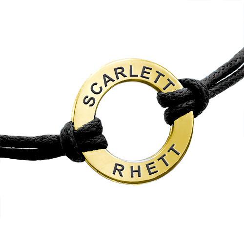 Bracelet cordon Jeton gravé plaqué or 18ct - 1