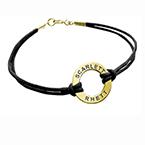 Bracelet cordon Jeton gravé plaqué or 18ct