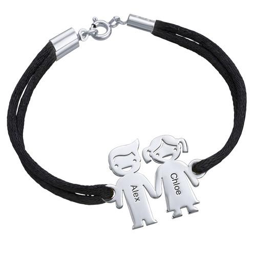 Bracelet cordon enfants se tenant par la main