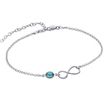 Bracelet de Cheville infini en argent avec pierre de naissance