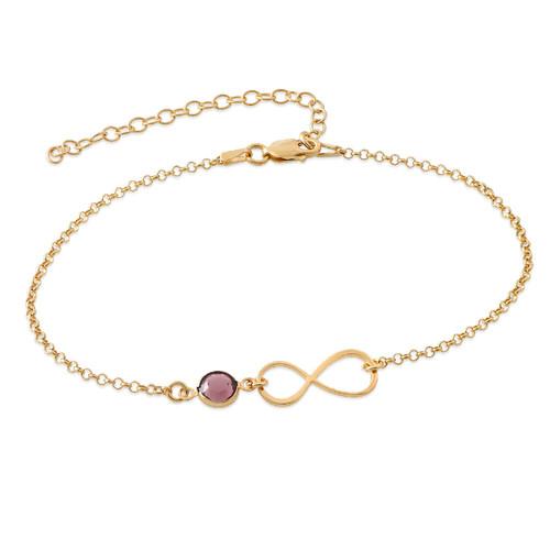Bracelet de Cheville infini en plaqué or avec pierre de naissance