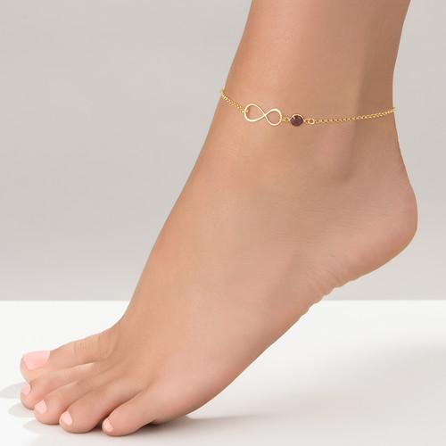 Bracelet de Cheville infini en plaqué or avec pierre de naissance - 2
