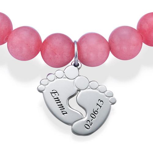 Bracelet de Perles avec Pieds de Bébé - 1