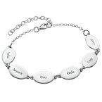 Bracelet de famille personnalisé pour Maman avec le nom des enfants -Pendentifs ovales