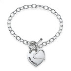 Bracelet double cœur à personnaliser