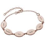 Bracelet en Plaqué  Or Rose avec noms des Enfants-Design Oval