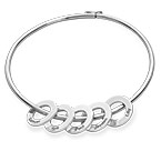 Bracelet jonc avec pendentifs ronds en argent
