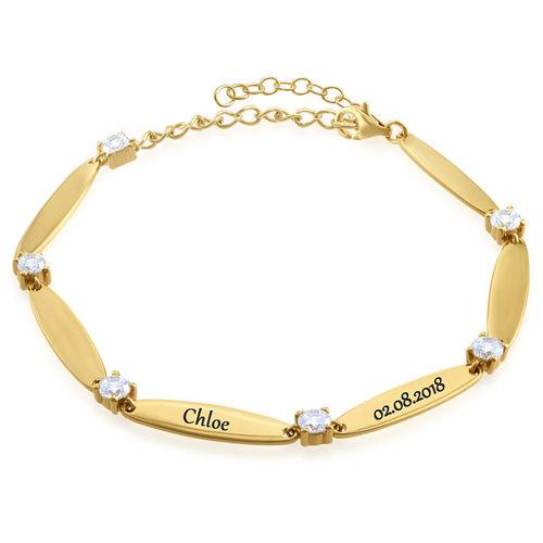 Bracelet maman gravé avec cubes de zirconium en plaqué or - 1