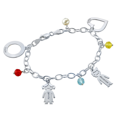 Bracelet avec pendentif Enfants gravés et couleurs