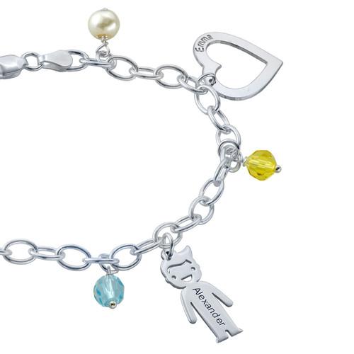 Bracelet avec pendentif Enfants gravés et couleurs - 2