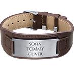 Bracelet personnalisé homme en cuir brun