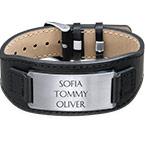 Bracelet personnalisé homme en cuir noir
