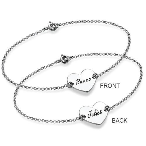 Bracelet pour Couple avec Coeur Personnalisé en Argent , 2